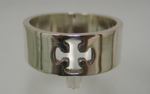 sterling band with cutout canterbury cross by Nancy Denmark