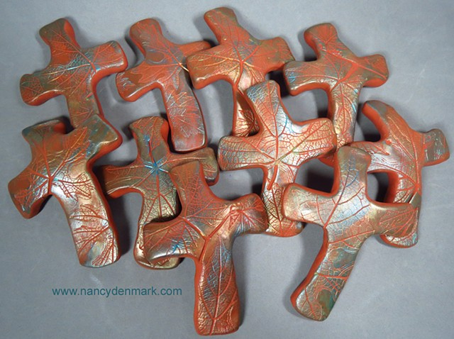polymer clay hand crosses made by Nancy Denmark