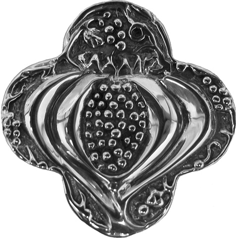 sterling silver quatrefoil jewelry pendant pomegranate © Nancy Denmark