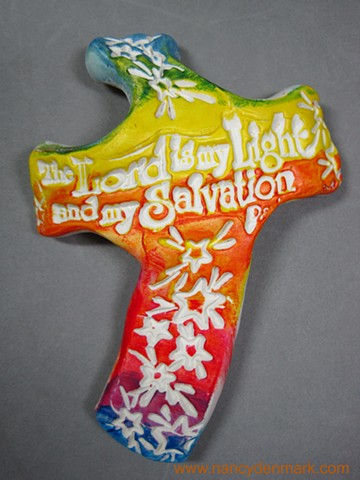 polymer clay hand held cross made by Nancy Denmark
