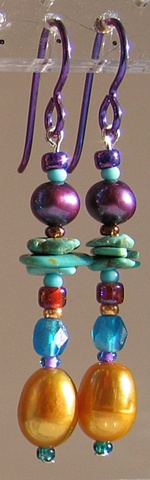 dangle beaded earrings by Nancy Denmark