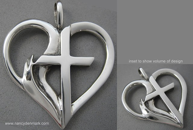 sterling silver heart pendant with cross & flame © Nancy Denmark