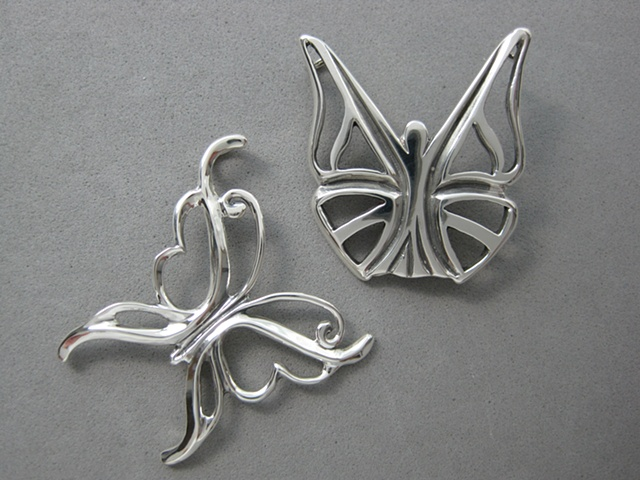 STERLING SILVER BUTTERFLY PENDANTS with Christian symbolism ©Nancy Denmark