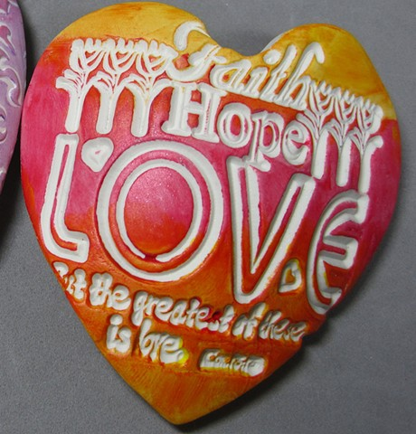"""handful of love"" heart made of polymer clay by Nancy Denmark"