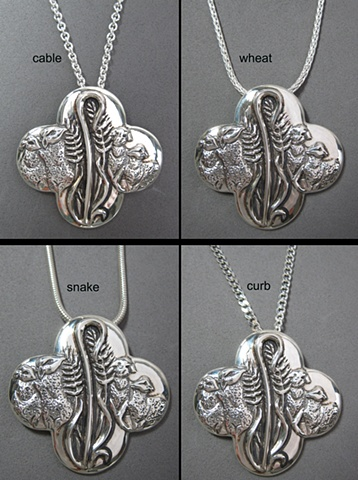 sterling silver chain styles shown with Feed My Sheep pendant designed by Nancy Denmark