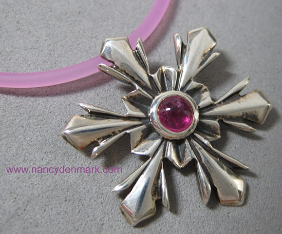 sterling silver snowflake pendant with pink tourmaline © Nancy Denmark