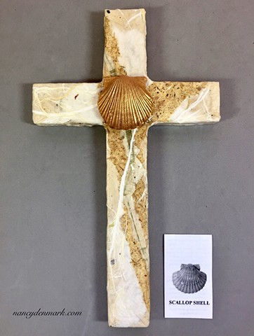 collage wall cross with baptismal theme