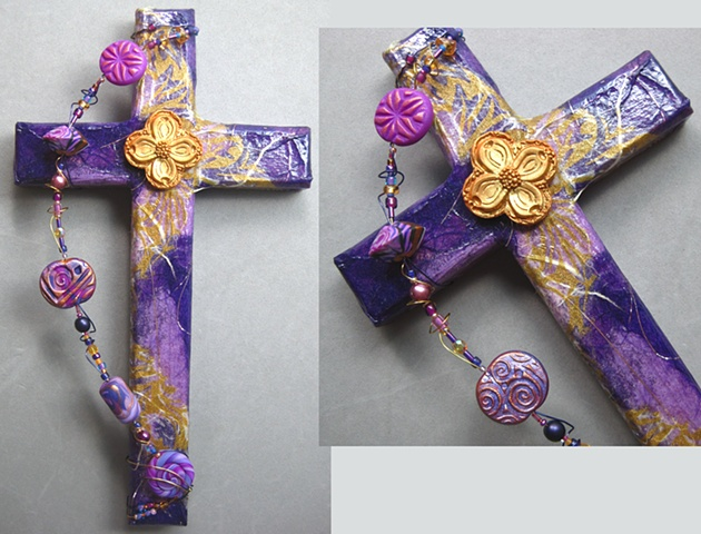 collage on wood cross embellished with polymer clay dogwood symbol Nancy Denmark Patti Reed
