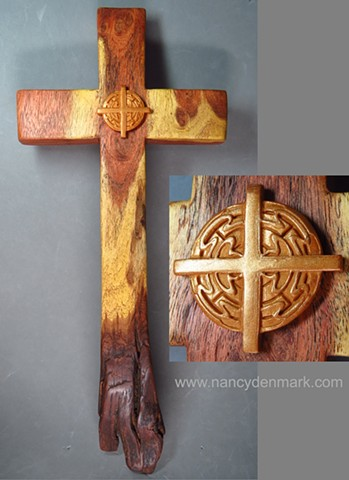 collaborative wall cross made by Nancy Denmark and Margaret Bailey