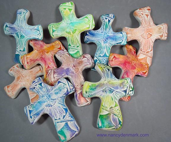 dragonfly on flower hand crosses by Nancy Denmark