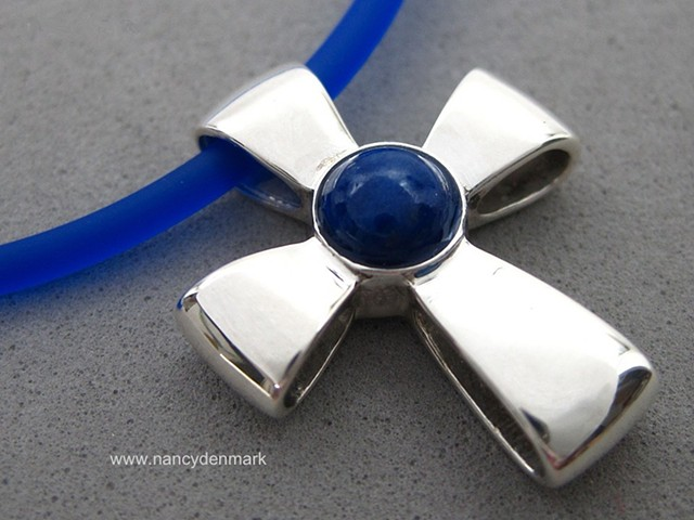 sterling silver ribbon cross with lapis cabochon © Nancy Denmark