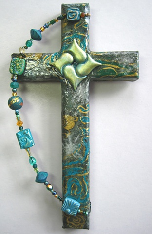 HEARTS ENTWINED IN CHRIST GREEN COLLAGE CROSS