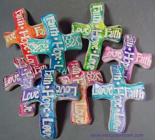 words of faith hand crosses by Nancy Denmark