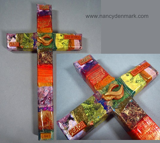collage & symbol wall cross made by Nancy Denmark