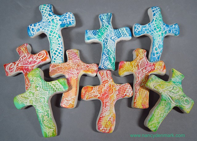 lace texture hand crosses made by Nancy Denmark