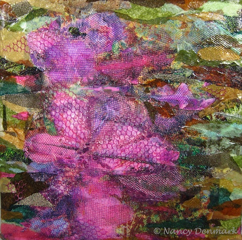 Azalea Trail collage on canvas by Nancy Denmark
