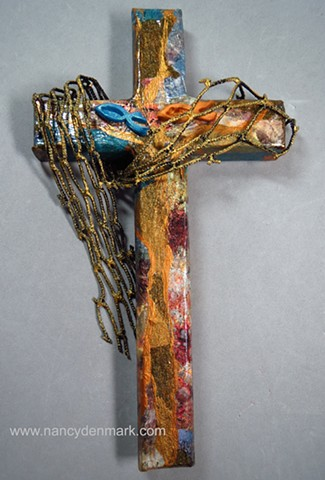 Cast Your Nets Collage Wall cross by Nancy Denmark