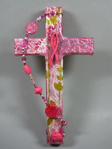 PINK RIBBON FISH ON COLLAGE CROSS