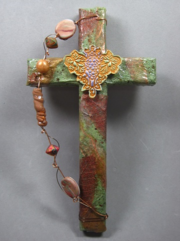 GRAPES & LEAVES GREEN AND BRONZE COLLAGE CROSS