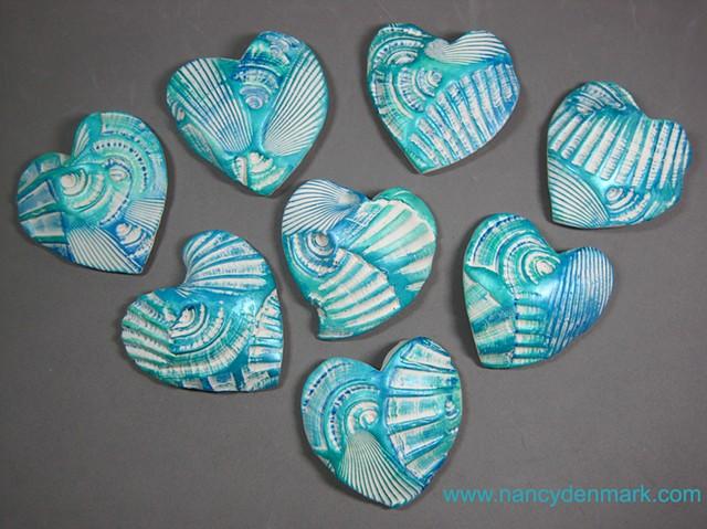 polymer clay hand held hearts custom made by Nancy Denmark