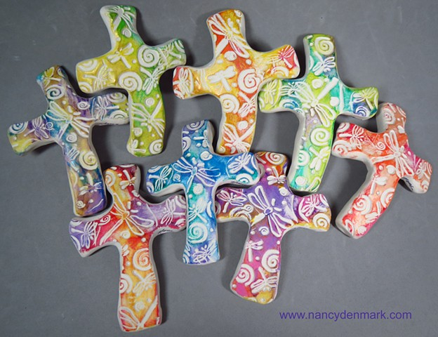 hand crosses impressed with dragonflies and swirls by Nancy Denmark