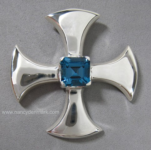 sterling silver Canterbury Cross with Blue Topaz © Nancy Denmark