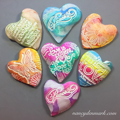 polymer clay hand hearts made by Nancy Denmark