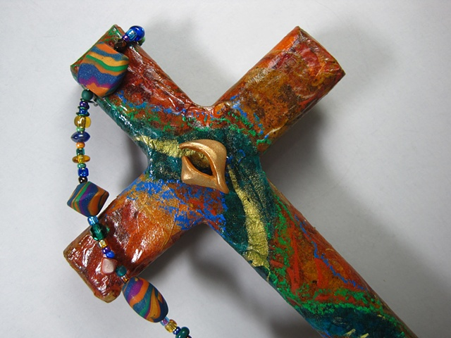 polymer clay descending dove on collage cross