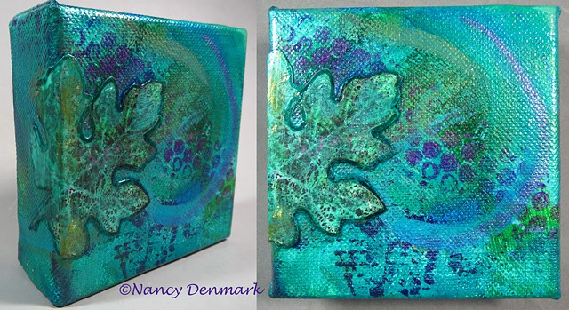 Grape Leaf mixed media on canvas ©Nancy Denmark