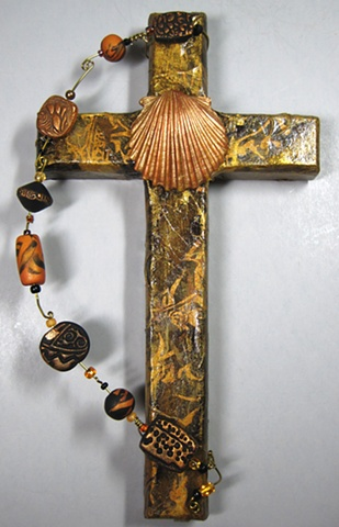 BAPTISMAL SHELL ON BLACK, GOLD, BROWN COLLAGE CROSS