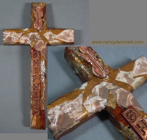 polymer clay & collage shepherd theme wall cross by Nancy Denmark & Patti Reed