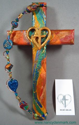 Cross & Flame Wall cross made by Nancy Denmark