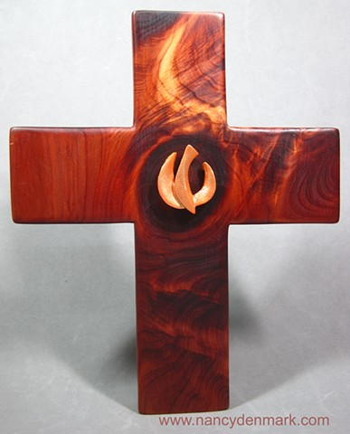 descending dove on cedar cross made by Nancy Denmark & Margaret Bailey