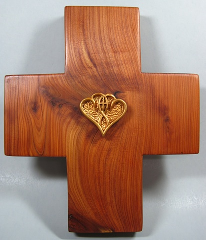ONE IN THE SPIRIT  POLYMER CLAY ON CEDAR CROSS FULL VIEW