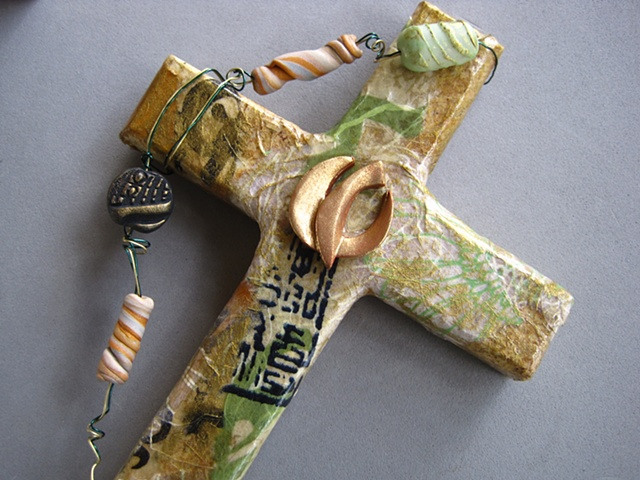 descending dove polymer clay symbol on collage cross Nancy Denmark Patti Reed