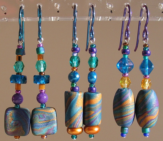 beaded polymer clay earrings by Nancy Denmark