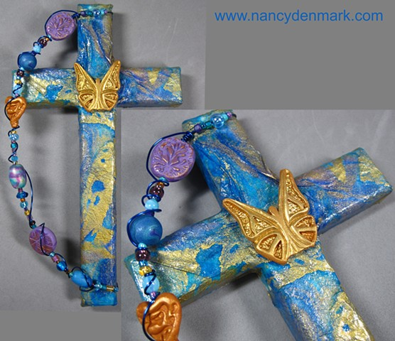 Be Ye Transformed collage and symbol wall cross by Nancy Denmark and Patti Reed