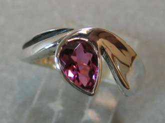 Pink tourmaline gemstone set in sterling silver ring designed and made by Nancy Denmark