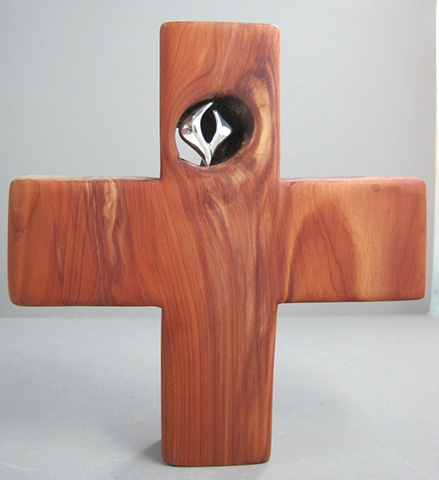 descending dove in cedar cross made by Nancy Denmark and Margaret Bailey