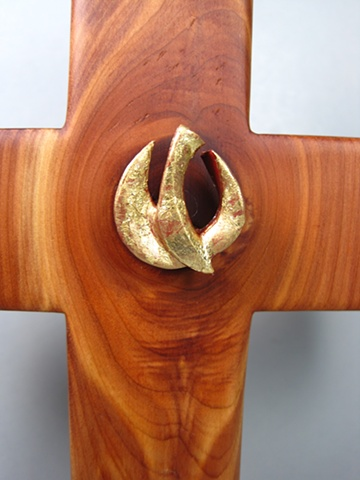 gold leafed polymer clay descending dove on cedar cross Nancy Denmark Margaret Bailey