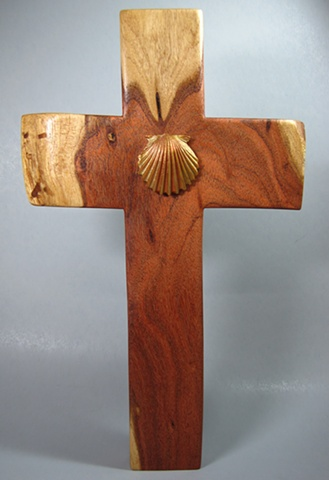 ONE LORD, ONE FAITH, ONE BAPTISM  POLYMER CLAY SHELL ON MESQUITE  CROSS FULL VIEW