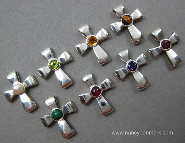 sterling silver Gift of God ribbon crosses with gemstones © Nancy Denmark