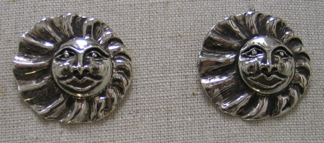 STERLING SUN FACE FRENCH WIRE EARRINGS