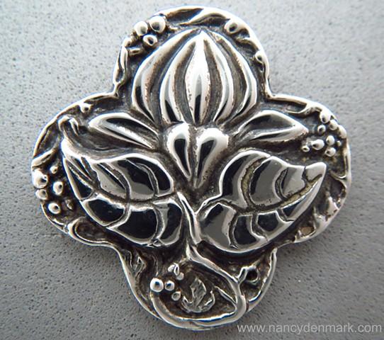 sterling silver quatrefoil cross pendant with lotus ©Nancy Denmark