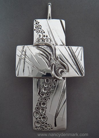 """On Eagle's Wings"" sterling pectoral cross © Nancy Denmark"
