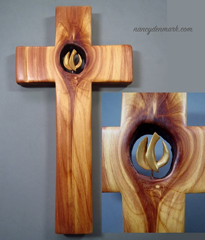 cedar wall cross by Margaret Bailey with descending dove symbol by Nancy Denmark