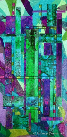 mixed media collage on art panel by Nancy Denmark