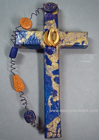 descending dove collage wall cross by Nancy Denmark and Patti Reed