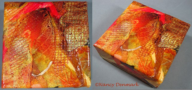 """Autumn Leaf"" collage on gallery wrapped canvas ©Nancy Denmark"