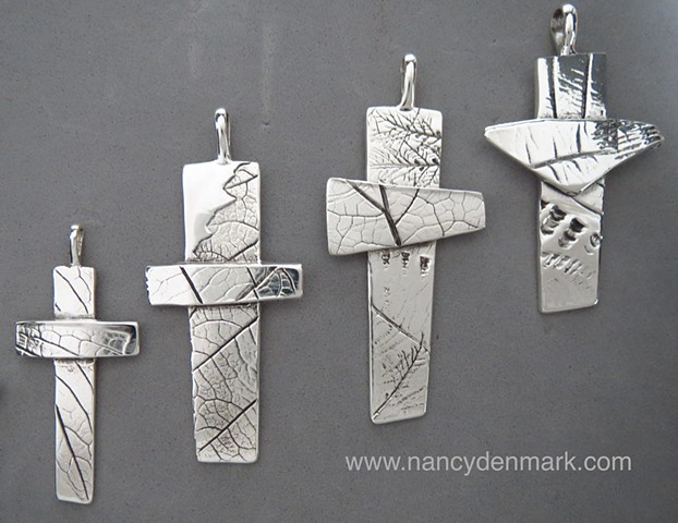 Impressions of Nature sterling silver crosses made by Nancy Denmark